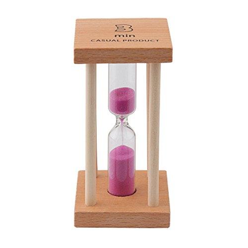 Mehrfarbige Sanduhr aus Holz für Heim und Schule. 3min rose