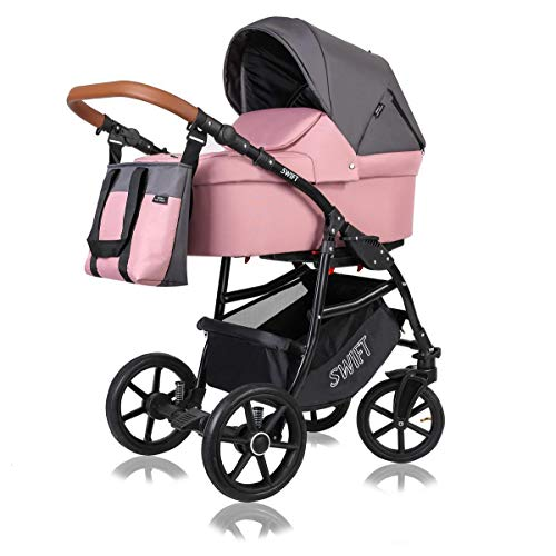 Kinderwagen 3 in 1 Komplettset mit Autositz Isofix Babywanne Babyschale Buggy Swift by ChillyKids Coral Reef S2 2in1 ohne Babyschale