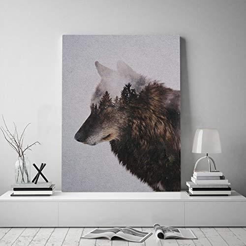 ganlanshu Lobo Mirando a los Animales del Bosque Lienzo Pared Arte Pared decoración del hogar para Sala cartel60x80cmPintura sin Marco