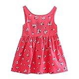 Lazzgirl Kleinkind mädchen Sommer Prinzessin Dress Kinder Baby Party Hochzeit Sleeveless Kleider(Rot, Hellblau