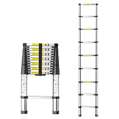 LSNLNN Escaleras, Escalera Telescópica de Aluminio, Escalera Plegable Ligera Y Conveniente, Usada para Interiores Y Exteriores, Techo, Escalada de Árboles, Rodando 150Kg,2.9M