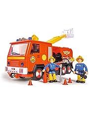 Simba 109251036 Brandweerman Sam Jupiter brandweerauto 2.0, met Sam en Elvis figuur, met licht en geluid, met uitschuifbare ladder en zoeklicht, 28 cm, voor kinderen vanaf 3 jaar