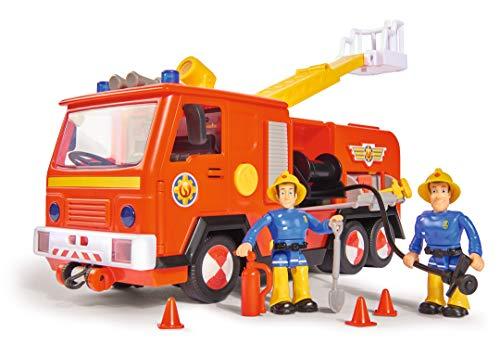Simba 109251036 - Feuerwehrmann Sam Jupiter Feuerwehrauto 2.0, mit Sam und Elvis Figur, mit Licht und Sound, mit ausfahrbarer Leiter und Suchscheinwerfer, 28cm, für Kinder ab 3 Jahren