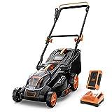 Cordless Lawn Mower, 40V Max 4.0Ah Battery, 16-Inch Brushless Lawn Mower, 50L Grass Box & Mulcher, 6...
