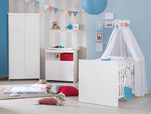 Roba Chambres d'enfants Emilia, Chambre complète de 2, 3 ou 4 pièces, Chambre de bébé Set Promotion dans différentes variantes disponibles, blanc