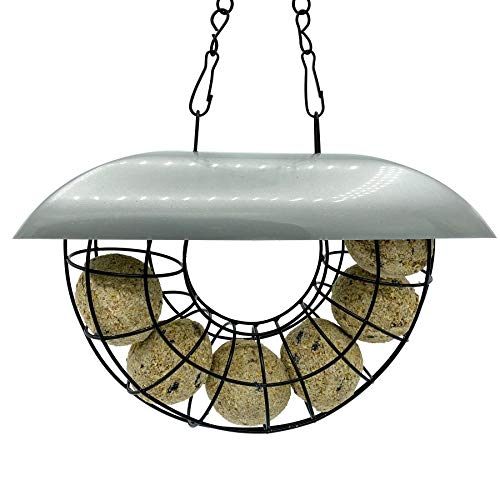 Half Moon Bird Feeder With 6 Suet Balls Included - Galvanised Steel Outdoor Hanging Feeders for Garden Birds with Plastic Roof - Attracting Tits, Finches, Robins, Sparrows & many more Wild Birds