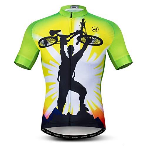 Bike Jersey Men Cycling Jerseys Mountain Road Bicycle Top MTB Shirts Short Sleeve Shirts Summer Green White Size L