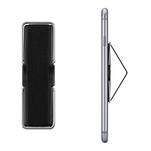 kwmobile Supporto per dita per cellulare - Sostegno adesivo con cavalletto e fascetta elastica - Impugnatura stand universale per smartphone - nero