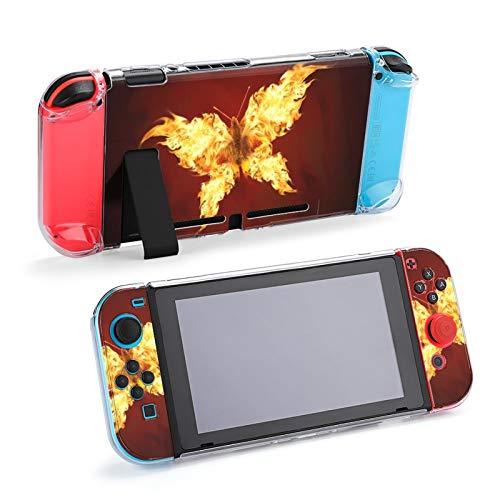 Flying Butterfly with Fiery Wings Switch Dockable Case - Protective Dockable Cover Case for Nintendo Switch and Joy-con Controllers
