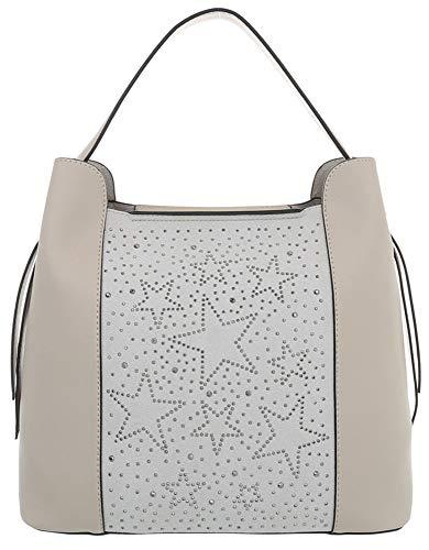 Dudlin Modische Schultertasche Model: Sterne aus Pailletten und extra Tasche, mit großem Hauptfach und mehrere Innentaschen, Shopper Tasche Shopperbag Umhängetasche (beige)