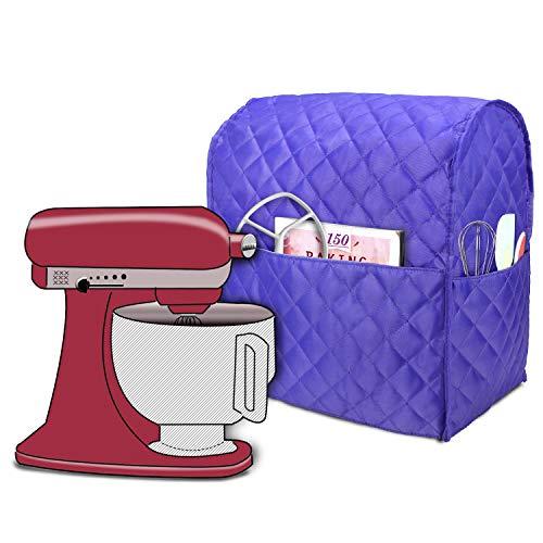 Luxja Copertura per KitchenAid Robot da Cucina, Cover con Tasche Posteriori per KitchenAid Robot da Cucina e Accessori (Adatto per 4,3 Litri e 4,8 Litri), Viola Trapuntato