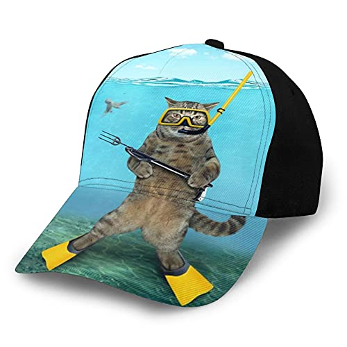 ZORIN Gorras De Béisbol Gato Diver Pesca Bajo El Agua 3D Moda Snapback Al Aire Libre Trucker Sombreros Negro