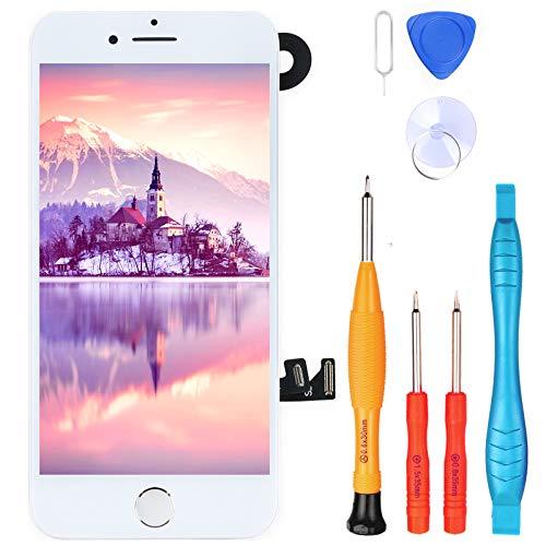 """LL TRADER Pantalla para iPhone 8 Plus Blanco 5.5"""", Repuesto de Táctil Retina LCD Digitalizador con Botón de Inicio de Plata, Sensor de Proximidad, Cámara Frontal, Altavoz de Auricular y Herramientas"""