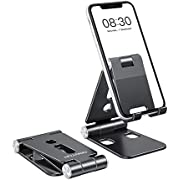 """Foldable Cell Phone Stand, OMOTON C4 Portable Aluminum Phone Holder, Adjustable Phone Dock Cradle Compatible with iPhone 12, iPad (7.9-10.2""""), Samsung Galaxy, Ebook Reader and More, Black"""