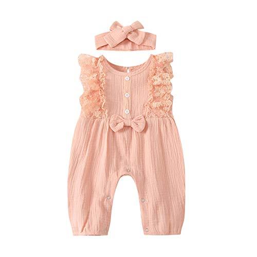 Eternali Mameluco sin mangas con volantes, para recién nacidos, con cuello redondo, de lino y algodón, con diadema, diseño floral y...