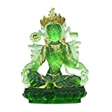 KOSHSH Chinese Style Ancient Law LiuLi Green Crystal MosaicGold Green Tara Buddha Statue Decoration Collection Home Office Decoration