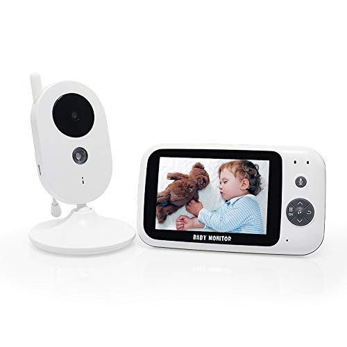 "Child Monitor Video Baby Monitor with 3.5"" LCD Digital Camera,2.4GHz Wireless Digital Video Monitor with Temperature Monitor, 2-Way Talk, Night Vision, Multiple Language Support and Voice Activation"