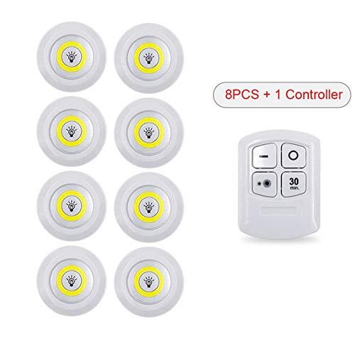 Luz LED Control Remoto inalámbrico Luz Nocturna 3W Super Bright COB Luz Debajo del gabinete Lámpara de guardarropa Regulable Armario del Dormitorio del hogar - 1 Control Remoto 8 Luces, Blanco cálido