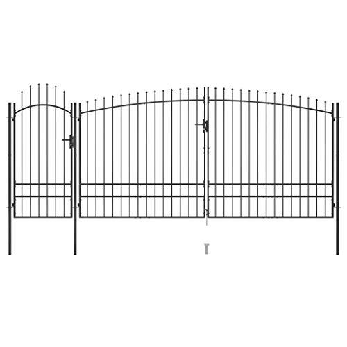 vidaXL Puerta de Valla de Jardín con Punta de Lanza Patio Exterior al Aire Libre Cerca Barrera con Poste Partición Robusta Duradera 5x2,45 m Negro