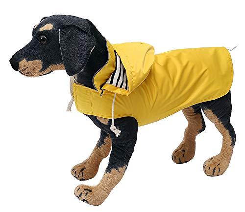 Ctomche Hunde-Regenmantel mit Kapuze und Kragenloch,Winddicht,leicht,wasserdicht,Regenkleidung für kleine,mittelgroße und große Hunde Gelb 3XL