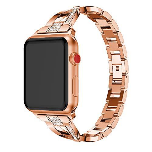QINJIE Correa Compatible con Apple Watch Pulsera para Mujer Pulsera con Correa de Metal Pulsera Ajustable para Mujer, niña, Hombre,Rose Gold,42mm