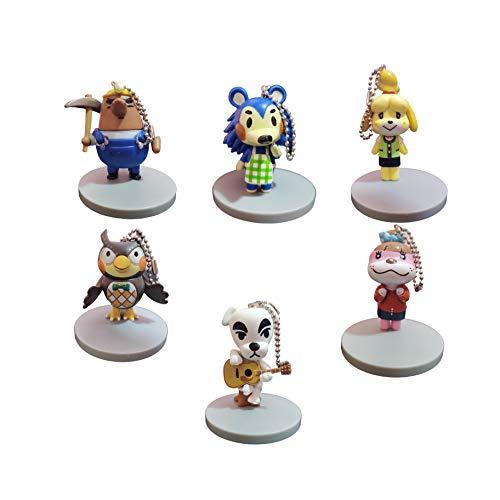 QIMA Tierkreuzungspuppe EIN Satz von 6 Schlüsselanhänger Animal Crossing Peripherer Waschbär Klilian Geldbörse Schlüsselbund KK Puppe Spielzeugpuppe Sen Youhui Anhänger