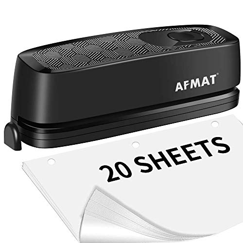 Electric 3 Hole Punch, AFMAT Electric Paper Punch Heavy Duty, 20-Sheet Punch Capacity, AC or Battery Operated 3 Hole Puncher, Effortless Punching, Long Lasting Paper Punch for Office School,Gray&Black