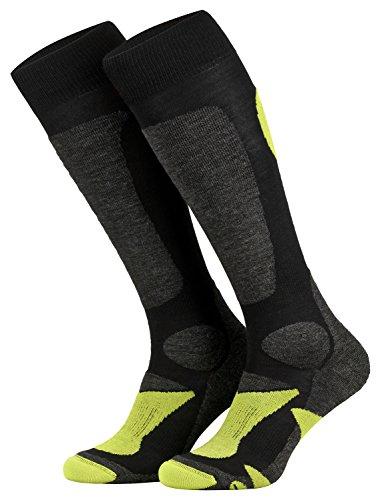 Piarini 2 Paar Unisex Skisocken Skistrumpf Herren, Damen und Kinder für Wintersport, Snowboard atmungsaktive Knie-Strümpfe Farbe Schwarz-Grün Gr.35-38