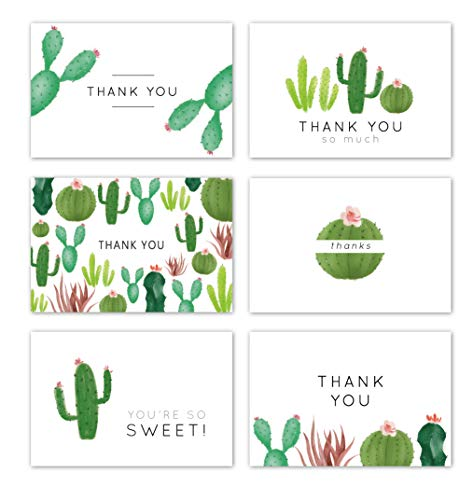 Gooji 4x6 Cactus Thank You Cards (Bulk 36-Pack) Matching Peel-and-Seal White Envelopes | Assorted Set, Watercolor, Colorful Graphics | Succulent, Birthday Party, Baby Shower, Weddings Blank Notes