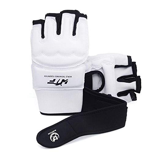 Medio Dedo Guantes De Boxeo Kickboxing Karate Entrenamiento De Boxeo Tailandés MMA Choque Absorber Protección De Las Manos Zzib (Color : White, Size : XL)