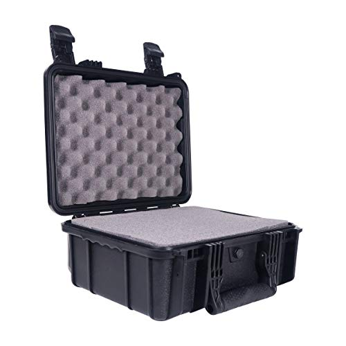 """Condition 1 14"""" Medium Waterproof Protective Hard Case with Foam, Black - 13.5"""" x 11.5"""" x 6"""" #075 Watertight IP67 Dust Proof and Shock Proof TSA Approved Portable Carrier"""