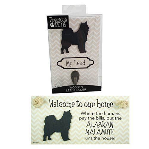Precious-Pets Hundetafel und Hundeleine, Hakenpackung, Alaskan Malamute, lustige Schilder, Geschenk für Mütter, Hundezubehör, Haussachen