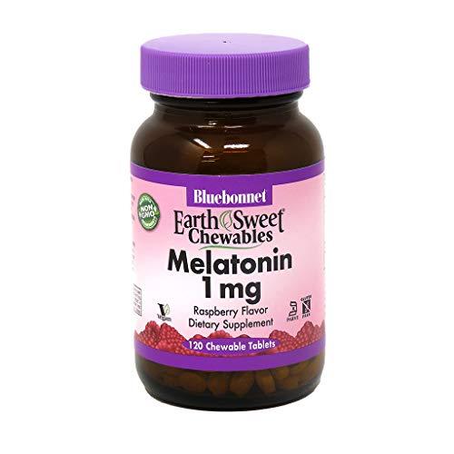 Bluebonnet Nutrition EarthSweet Melatonin 1 mg Fast-Acting Quick Dissolve Nighttime Relaxation & Restful Sleep Support - Sleep Aid - Gluten-Free, Vegan - Raspberry Flavor - 120 Chewable Tablets