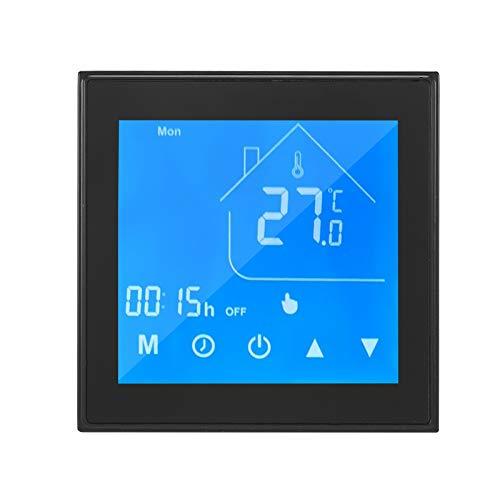 OWSOO Termostato Inteligente WiFi, Pantalla LCD, Semana Programable, Termostato para Caldera de Agua/Gas, Control de App Tuya, Compatible con Alexa Google Home, Negro