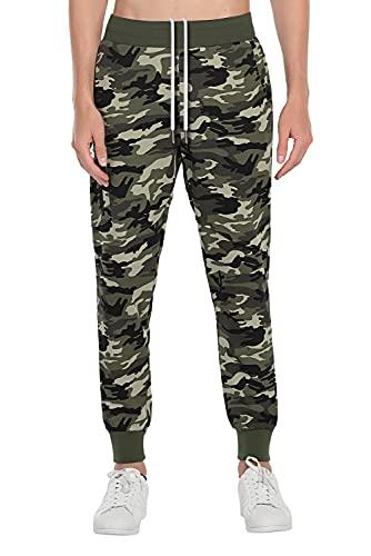 Extreme Pop Hombre Pantalones de chándal con Estampado Reflectante de Camuflaje (L, Verde Camuflaje)