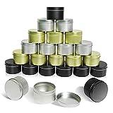 24 Tarros de Aluminio Vacíos de 110 ml para Velas, Almacenamiento de Especias Secas, Dulces y Galletas, Envases de Cosméticos, Tarros para Crema, Loción, Bálsamo Labial (Dorado, Plateado, Negro)