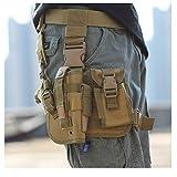 KEEPMOVE Tactical Drop Leg Holster Adjustable Drop Leg Platform Gun Holster Right Handed Tactical Thigh Pistol Gun Holster Molle Module Universal Bag Waterproof (Khaki)