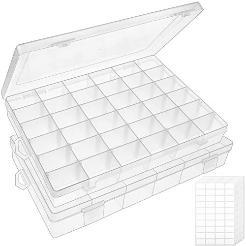 Outuxed 2pack 36 Grids Clear Plastic Organizer Box Storage Container Jewelry Box with Adjustable Dividers for Beads Art DIY Crafts Jewelry Fishing Tackles with 5 Sheets Label Stickers
