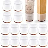 24 PCS Silicone Chair Leg Protectors with Felt for Hardwood Floors, mikede Silicone Furniture Leg Cover Pad for...