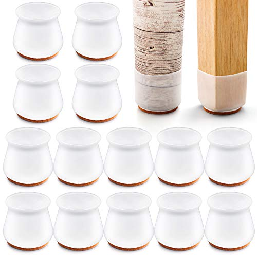 Silicone Chair Leg Protectors with Felt for Hardwood Floors (24 PCS), mikede Silicone Furniture Leg Cover Pad for Protecting Floors from Scratches and Noise, Smooth Moving for Chair Feet.