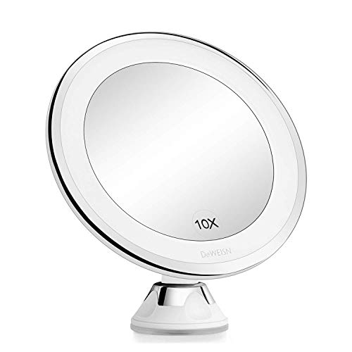 DeWEISN Espejo para Maquillarse con Luces LED Naturales, Aumento 10x Espejo de Vanidad con Ventosa de Bloqueo Rotación de 360 ° Portátil, Espejo de Pared Iluminado para Afeitado de Baño y Viajes