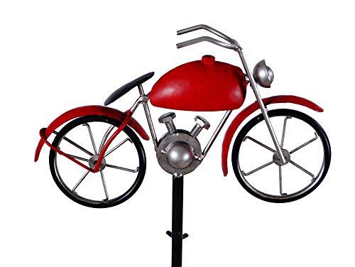 Amicaso Regenmesser Motorrad Niederschlagsmesser Gartendeko aus Metall/Echtglas Wetterstation Gartenstecker