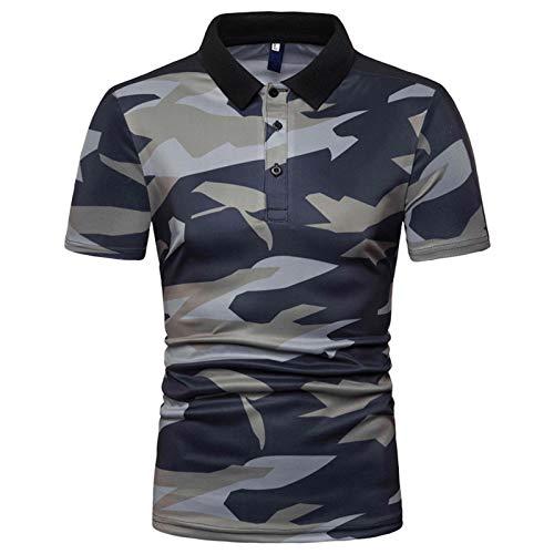 WSLCN Herren Poloshirt Kurzarm Hemd Sommer T-Shirt Sport Freizeit Urlaub Dünn Grau Grün Camouflage XXXL: Brust 128cm/50.39