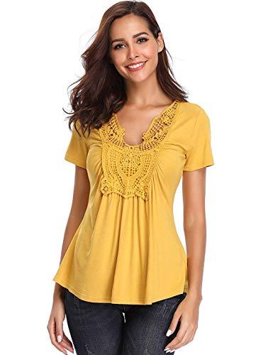 MISS MOLY Camisetas Blusas con Cuello en V para Mujer Tops Sexy Slim S