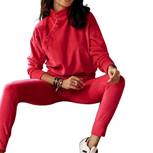 DDMYF Chándal de Mujer Juego de 2 Piezas Juego de Sudadera con Capucha + Pantalones Sports Traje Femenino Otoño Invierno Sudadera Conjuntos Mantenga Trajes Cálidos para Mujer