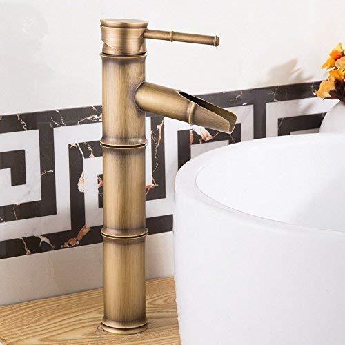 CESULIS Grifo mezclador de baño latón antiguo retro 1 agujero giratorio agua caliente y fría grifos para lavabo de baño