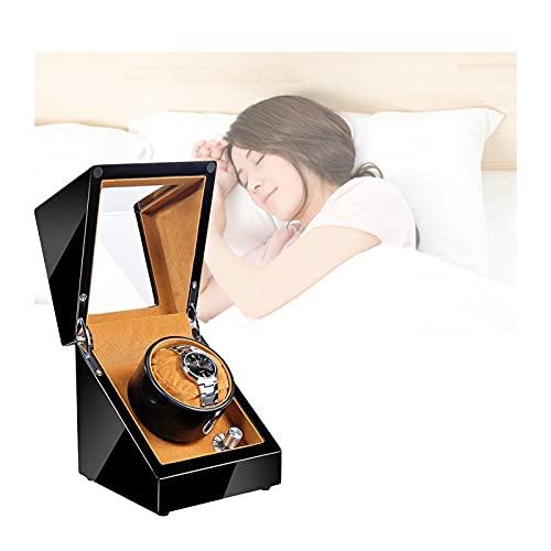 Hcyx Enrollador de Reloj de Madera Individual para automático con Motor silencioso, Alimentado por batería o Adaptador de CA(Color:A)