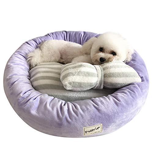 Vejaoo Letto per Cani Rotondo Lavabile Cuscino per Gatto Adatto per Gatto e Cane di Piccola Taglia XZ024 (M, Light Purple)
