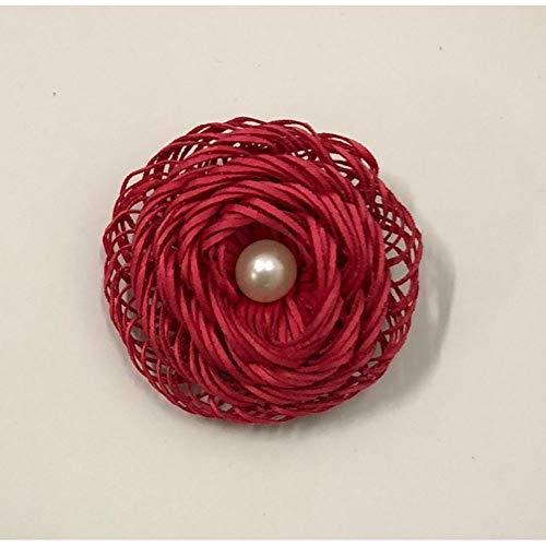 20 broches de flor fucsia con perla para decoración de bombonera.