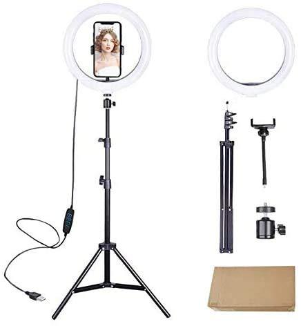 Kit Iluminador Anel de Led Ring Light 10 Polegadas 26cm + RingLight 6 Polegadas 16cm de Mesa Youtuber Selfie Pro Usb Led
